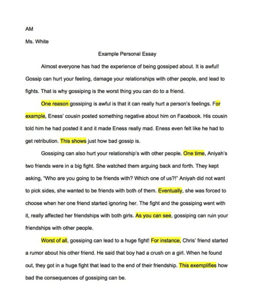 am example personal essay room 112 example personal essay